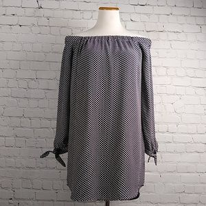 NET Express Off-Shoulder Polka Dot Shift Dress